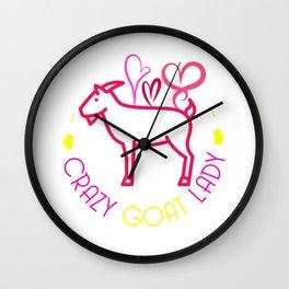 Crazy Goat Lady Funny Animal Farmer Ranch Farming Design Wall Clock