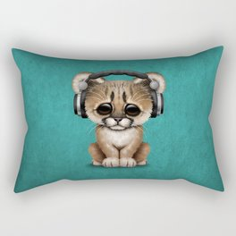Cute Cougar Cub Dj Wearing Headphones on Blue Rectangular Pillow