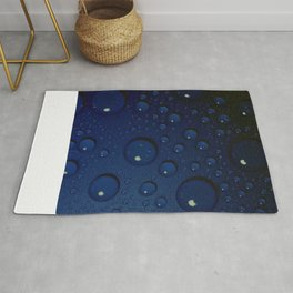 Midnight Blue to Stars in Droplets Polka Dots Rug