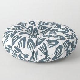 Papier Découpé Modern Abstract Cutout Pattern in Dusky Blue and White Floor Pillow