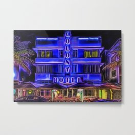 Ocean Drive South Beach Colony Hotel Midnight Cafe Dinner landscape by Jeanpaul Ferro Metal Print