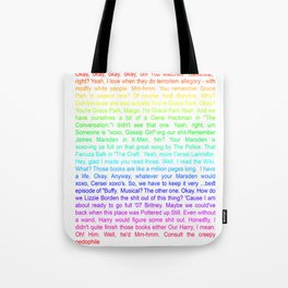 Margo and Eliot Talking in Nerd Code Tote Bag