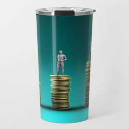 Finance Wealth Increase with Business People Standing on Chart of Gold Coins Travel Mug