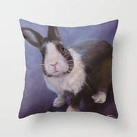 furry Throw Pillows featuring Furry Friend by Ashley Vanchu