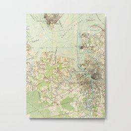 Vintage Map of The Hampton Roads (1918) Metal Print