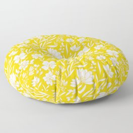 White Floral Pattern On Meyer Lemon Yellow Background Floor Pillow