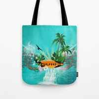 surfing Tote Bags featuring Surfing by nicky2342
