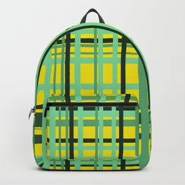 Checkered yellow green Design Backpack