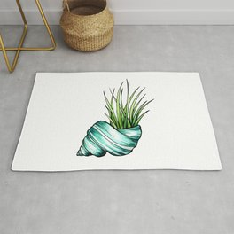 Teal Shell and Plant Rug