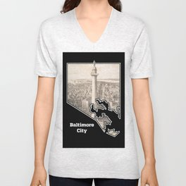 Washington Monument, Baltimore Unisex V-Neck