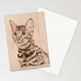 Bengal Cat Portrait - Drawing by Burning on Wood - Pyrography art Stationery Cards