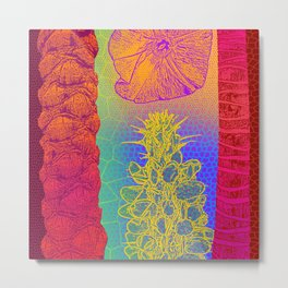 Yellow Cactus Tree Trunks Metal Print