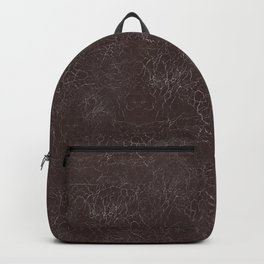 Brown Cracking  Leather-Look Backpack