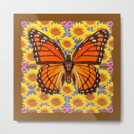 COFFEE BROWN YELLOW SUNFLOWERS  MONARCH BUTTERFLY Metal Print