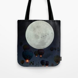 Human facing the moon and balloons by GEN Z Tote Bag
