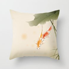 Koi fishes in lotus pond Throw Pillow
