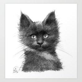 Black Kitten SK135 Art Print