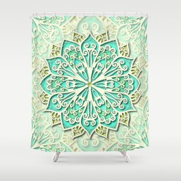 White cyan and yellow Beautiful Wedding Mandala Shower Curtain