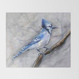 Blue Jay Watercolor Bird Throw Blanket