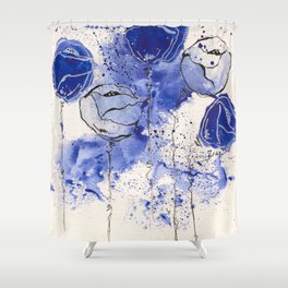 Blue and White Splotch Flowers Shower Curtain