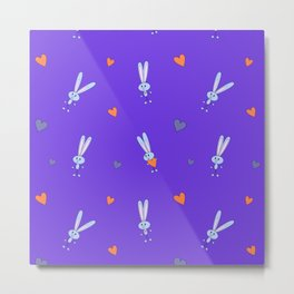 St. Valentine's Day Pattern. Purple pattern with a bunny and hearts Metal Print