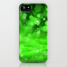 Whimsical Green Glowing Christmas Sparkles Bokeh Festive Holiday Art iPhone Case