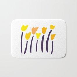 California Poppies // Hand-drawn Modern Organic Illustration Bath Mat