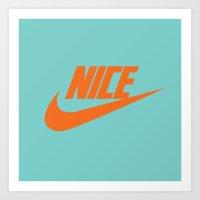 nike Art Prints featuring Nike Nice by Tony Vazquez