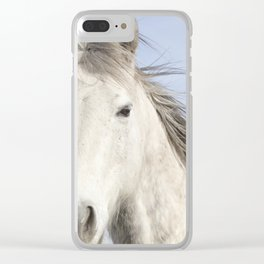 Whit Horse in Color Clear iPhone Case