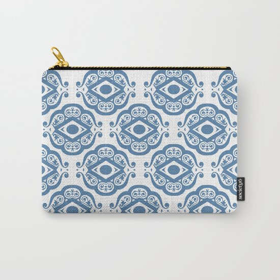 Blue White Ornate Shapes Pattern Carry-All Pouch