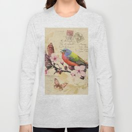Vintage illustration with bird and butterfly Long Sleeve T-shirt