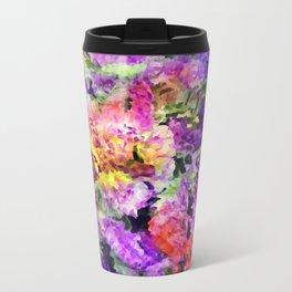 Elegant Rainbow Floral Abstract Travel Mug