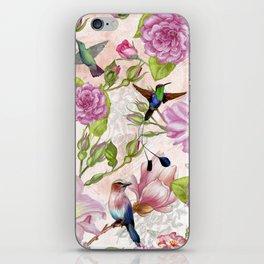 Vintage Roses and Hummingbird Pattern iPhone Skin