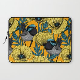 Fairy wren and poppies in yellow Laptop Sleeve