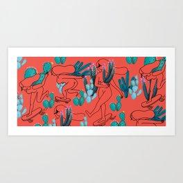 Picking cactus Art Print