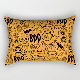 Spooky Pattern - Orange Rectangular Pillow