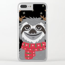 Sloth Reindeer Clear iPhone Case