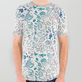 Colorful Sealife All Over Graphic Tee