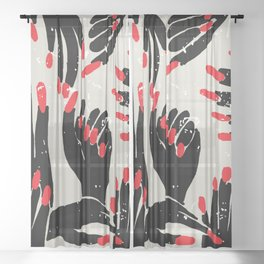 hands, fingers, nails & fingernails Sheer Curtain