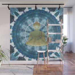 Golden Buddha Mandala (blue) Wall Mural