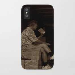 Man eating inside the van. Chinatown, New York City iPhone Case