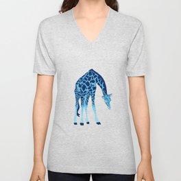 'Feelin' Blue' Pointillism Blue Giraffe Illustration Unisex V-Neck