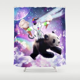 Lazer Rave Space Cat Riding Panda With Ice Cream Shower Curtain