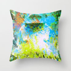 moai in green Throw Pillow