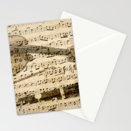 Violin and clarinet musical note background Stationery Cards