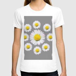 WHITE SHASTA DAISY FLOWERS  DECORATIVE GREY ART T-shirt