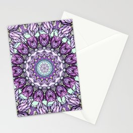 watercolor lily mandala Stationery Cards