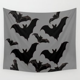 HALLOWEEN BATS ON CHARCOAL GREY WILDLIFE ART Wall Tapestry