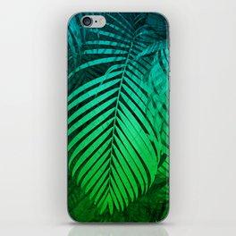 TROPICAL GREEN BLUE LEAVES iPhone Skin