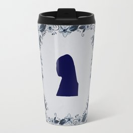 Delft blue tile Girl with a Pearl Earring Travel Mug